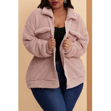 Lovely Casual Patchwork Pink Plus Size Coat