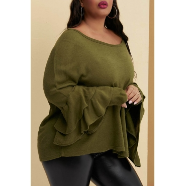 Lovely Trendy Flounce Design Green Plus Size Blouse