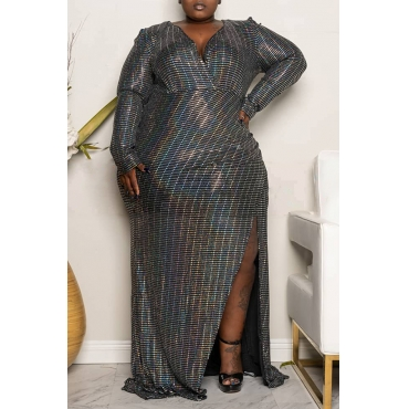 Lovely Casual V Neck Silver Floor Length Plus Size Dress