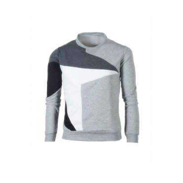 Lovely Casual Patchwork Light Grey T-shirt