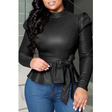 Lovely Trendy Mandarin Collar Lace-up Black Blouse