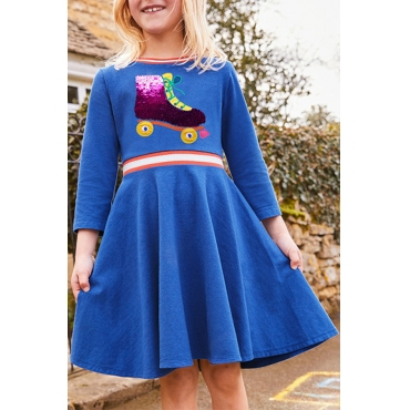 Lovely Christmas Day Patchwork Acid Blue Knee Length Girls Dress
