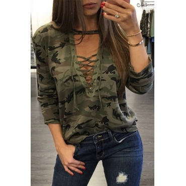 Lovely Casual Printed Army Green T-shirt
