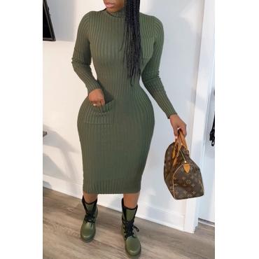 Lovely Casual Turtleneck Blackish Green Mid Calf  Dress