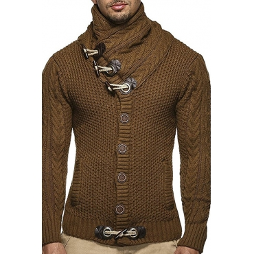 Lovely Casual Buttons Brown Sweater