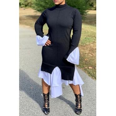 Lovely Trendy Patchwork Black Knee Length Dress