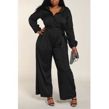Lovely Work Loose Black Plus Size One-piece Jumpsuit