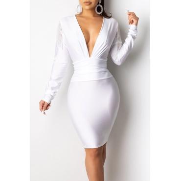 Lovely Party V Neck White Mini Dress