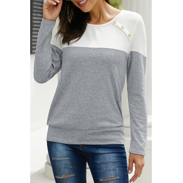 Lovely Casual O Neck Patchwork Grey T-shirt
