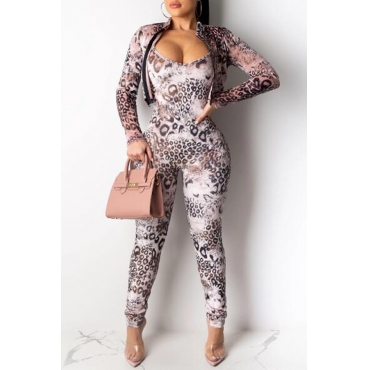 Lovely Sexy Leopard Printed Two-piece Pants Set