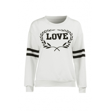 Lovely Trendy Printed White Sweatshirt Hoodie