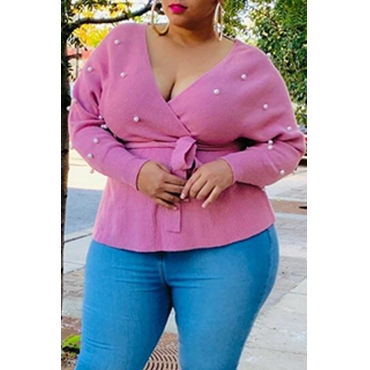 Lovely Casual V Neck Pink Plus Size Sweater