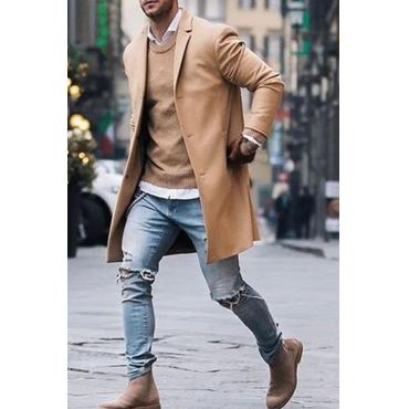 Lovely Casual Turndown Collar Khaki Coat