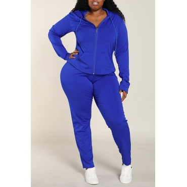 Lovely Casual Zipper Design Basic Blue Plus Size Two-piece Pants Set