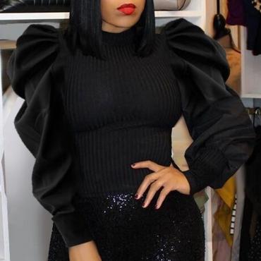 Lovely Sweet Blouse Ruffle Design Black