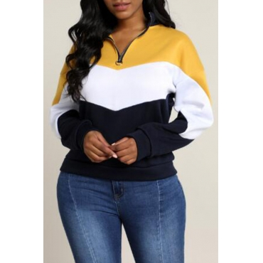 Lovely Casual Patchwork Yellow Sweatshirt Hoodie