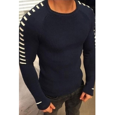 Lovely Casual Basic Deep Blue Sweater