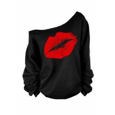 Lovely Casual Lip Printed Red Plus Size Sweatshirt Hoodie