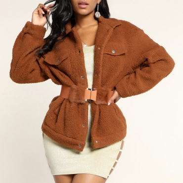 Lovely Chic Basic Light Tan Teddy Coat(Without Belt)