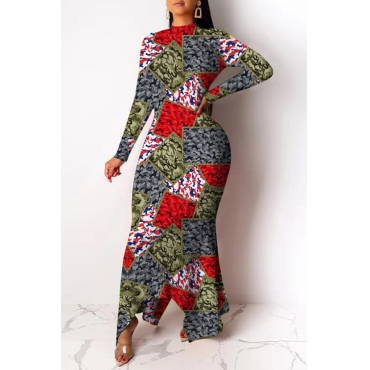 Lovely Casual O Neck Camouflage Printed Ankle Length Dress