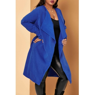 Lovely Casual Loose Blue Plus Size Coat