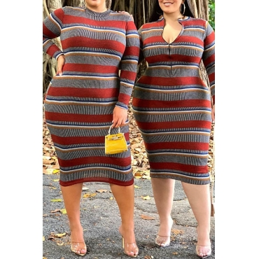 Lovely Trendy Striped Multicolor Mid Calf Plus Size Dress