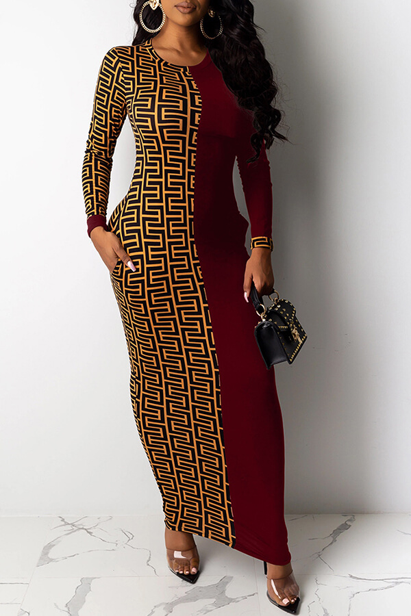 Lovely Casual Printed Wine Red Ankle Length Plus Size Dress