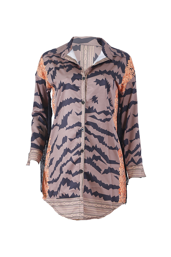 Lovely Trendy Tassel Design Printed Brown Mini Dress(Without Belt)