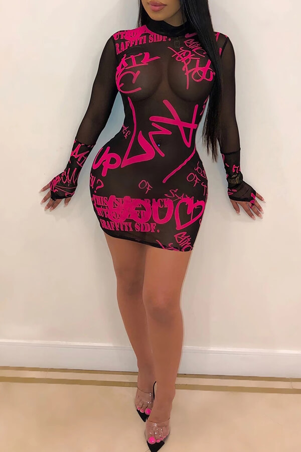 Lovely Sexy See-through Letter Printed Rose Red Mini Dress