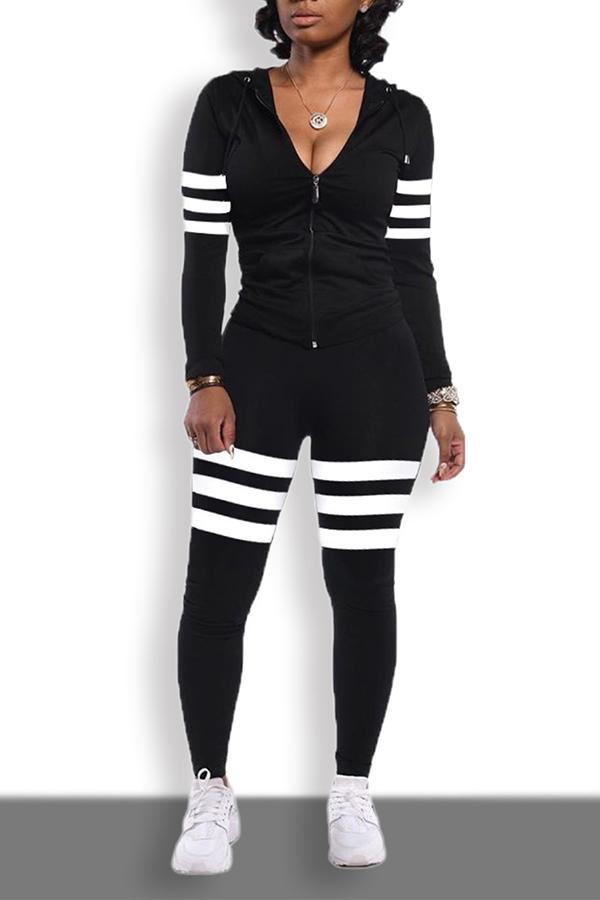 Lovely Sportswear Striped Patchwork Black Two-piece Pants Set