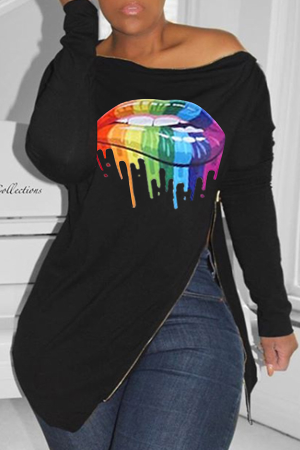 Lovely Casual Lip Printed Black T-shirt