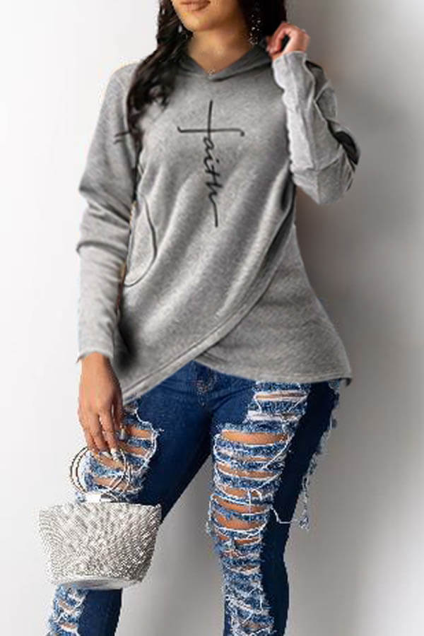 Lovely Trendy Hooded Collar Letter Print Asymmetrical Grey Hoodie
