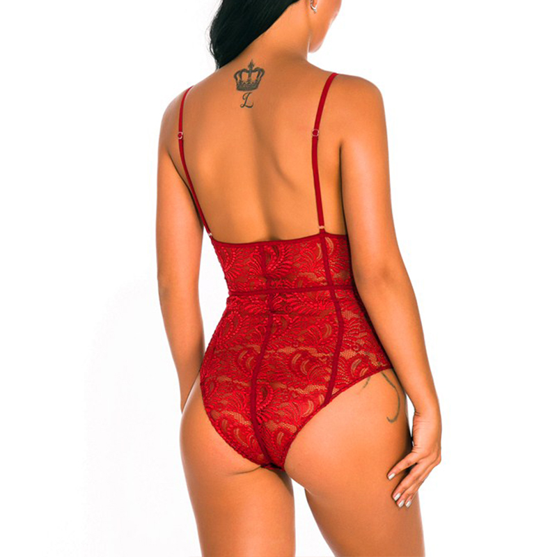 Lovely Sexy Hollow-out Wine Red Teddies