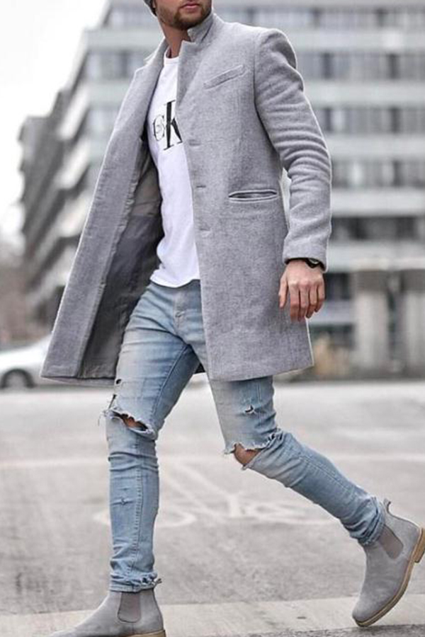 Lovely Casual Turndown Collar Grey Coat