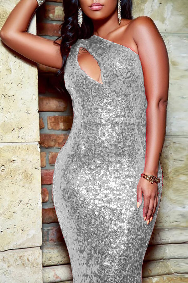 Lovely Party One Shoulder Hollow-out Silver Floor Length Evening Dres