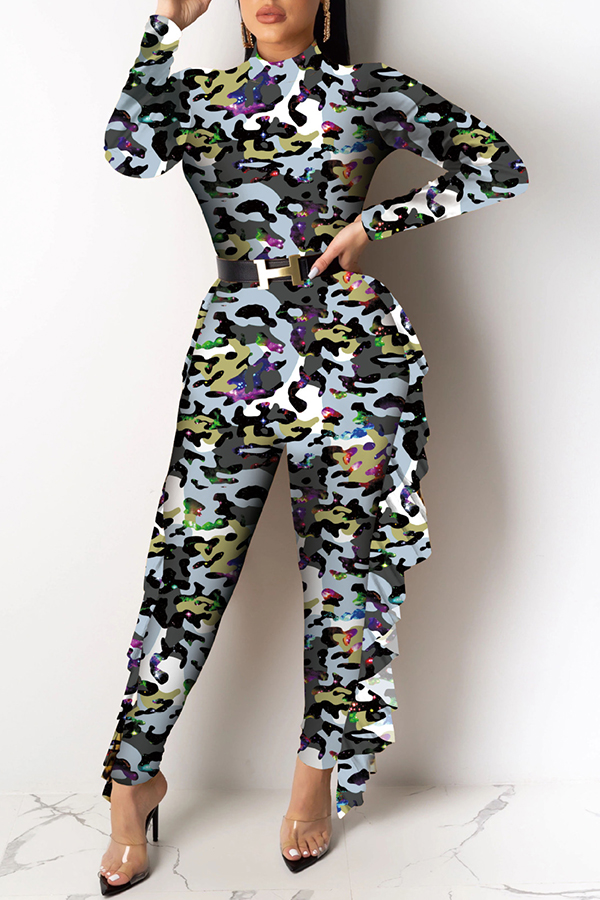 Lovely Chic Camouflage Printed One-piece Jumpsuit(Without Belt)
