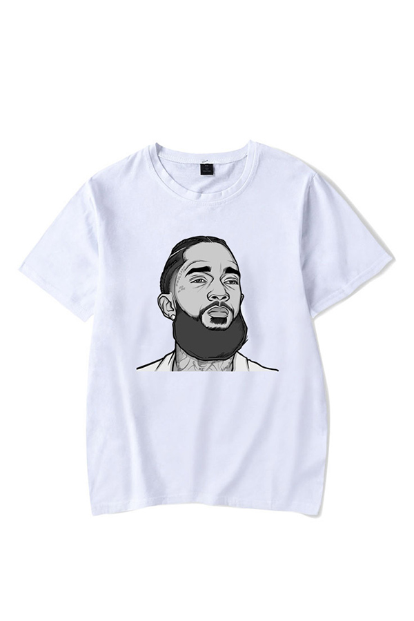 Lovely Leisure Figure Printed White T-shirt