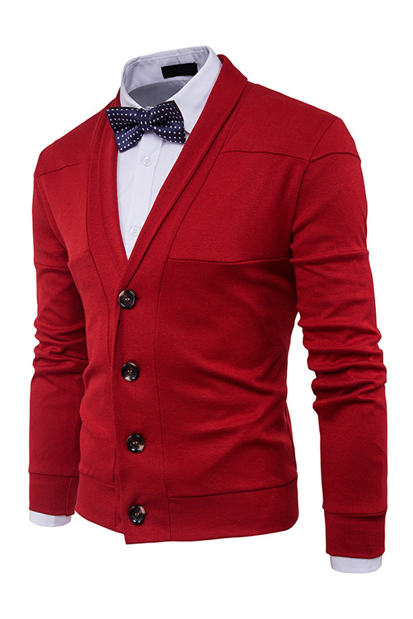 Lovely Chic  Buttons Design Red Cardigan(Without Shirt)