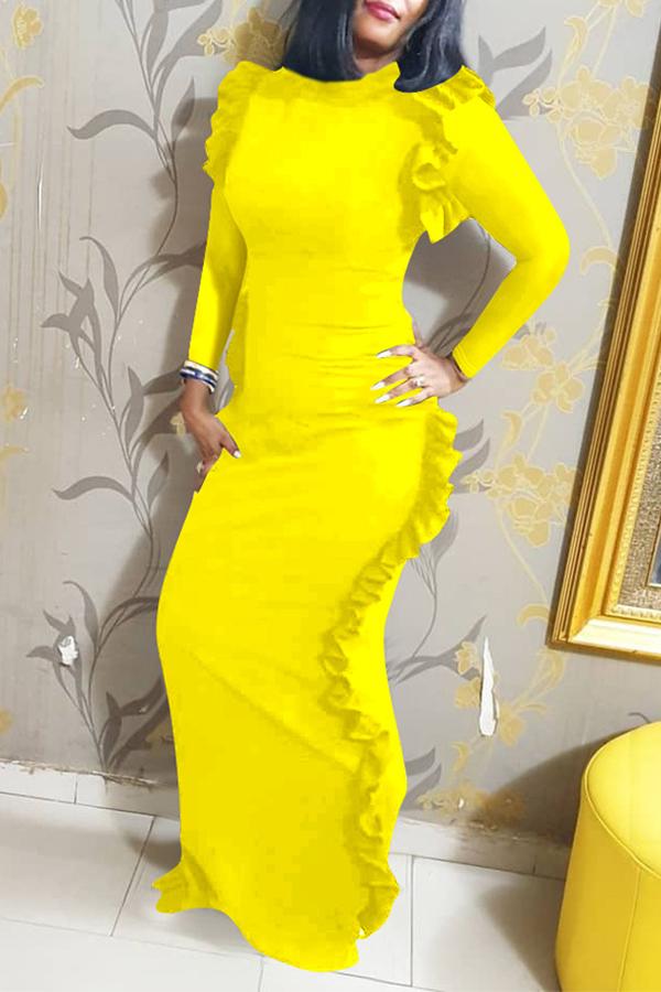 Lovely Casual Flounce Design Yellow Floor Length Dress