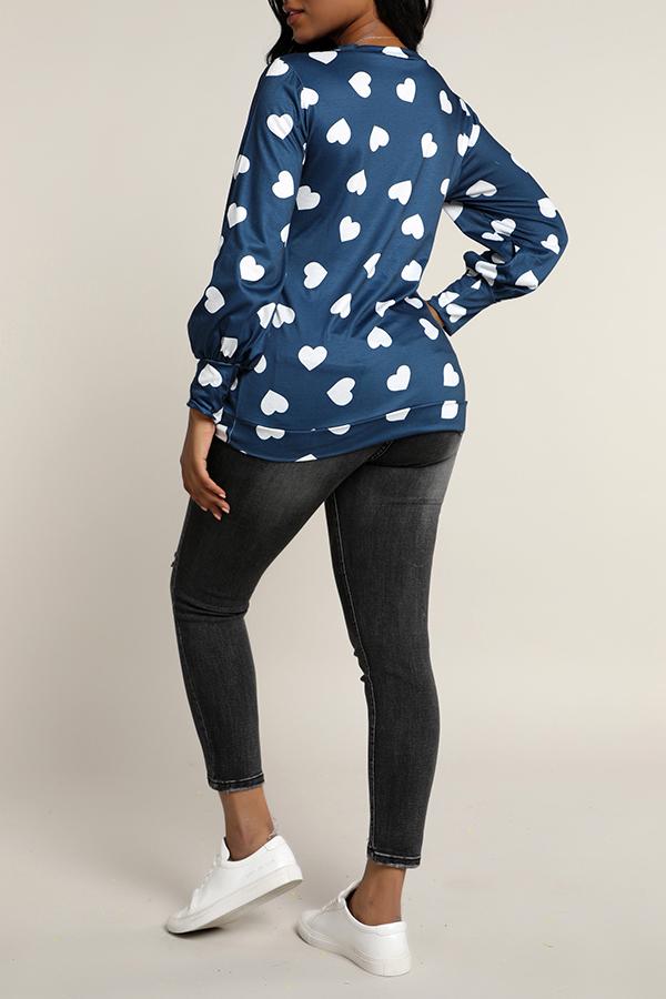 Lovely Casual Printed Dark Blue Sweatshirt Hoodie