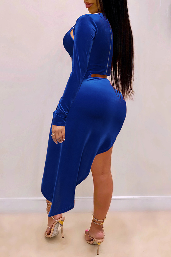 Lovely Sexy Turtleneck Hollow-out Blue Ankle Length Dress