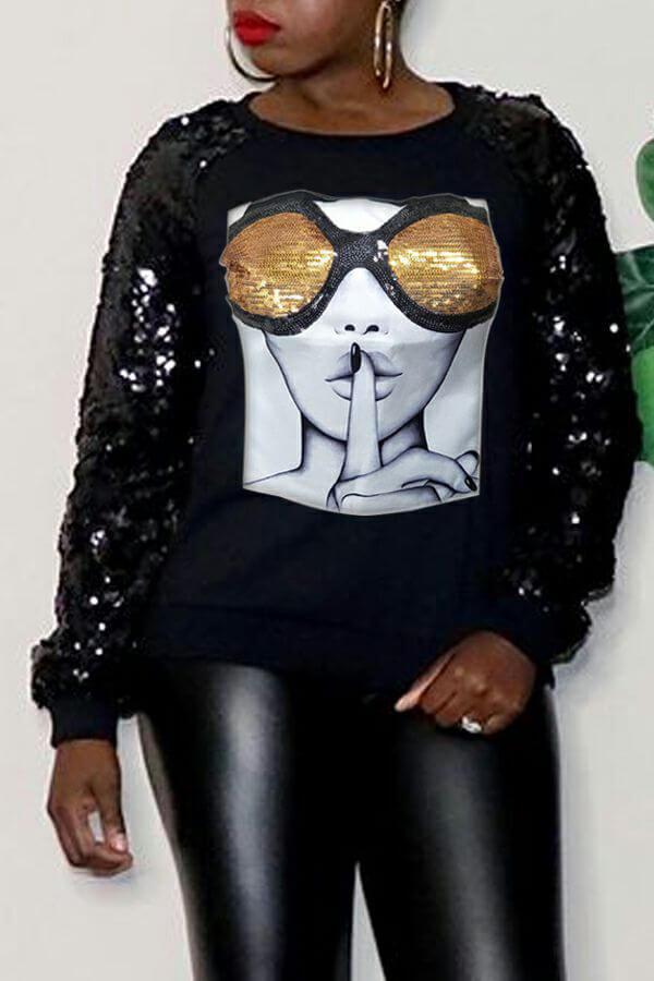 Lovely Casual Sequined Printed Black Sweatshirt Hoodie