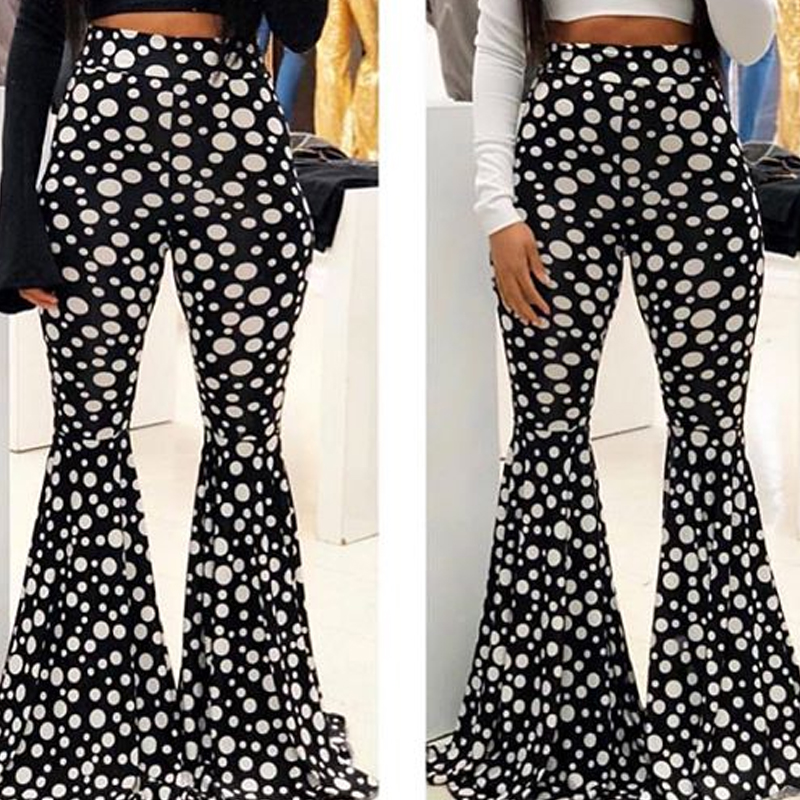 Lovely Casual Dot Printed Black And White Pants