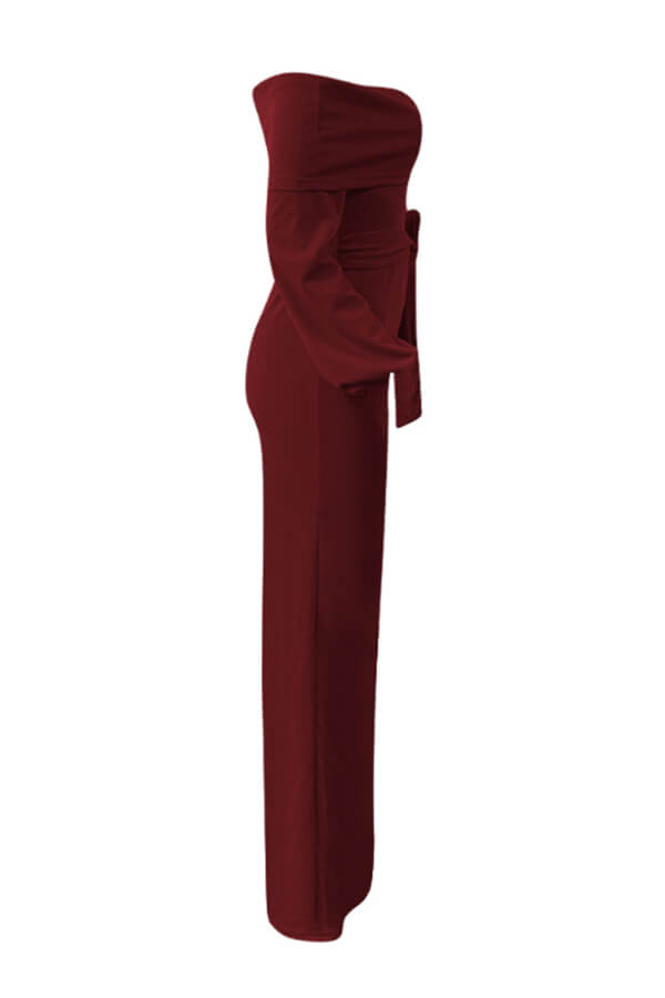 Lovely Trendy Loose Wine Red One-piece Jumpsuit