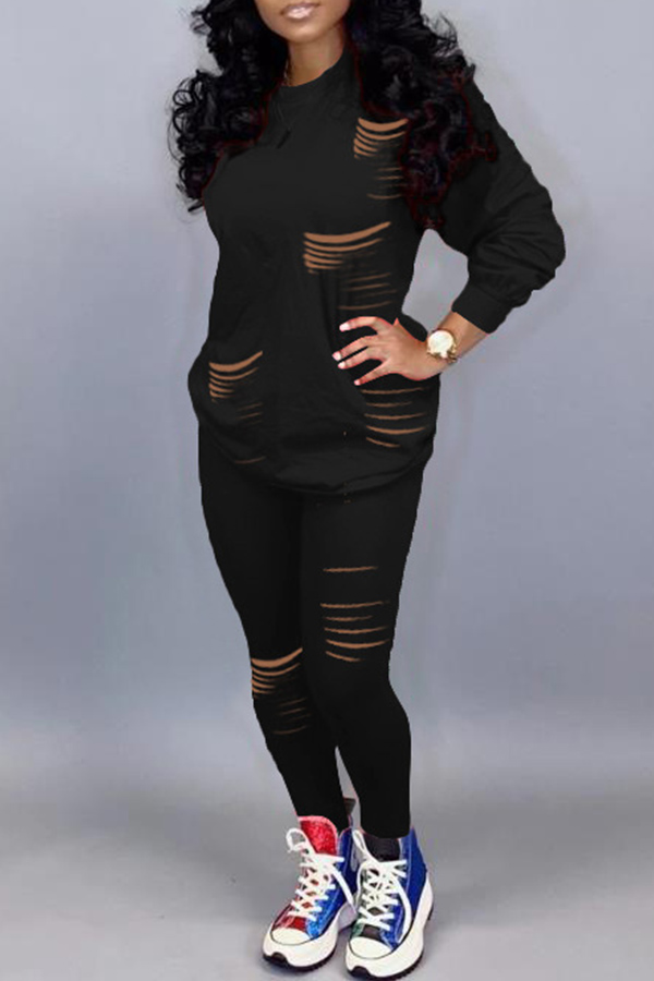 Lovely Casual Hollow-out Black Two-piece Pants Set