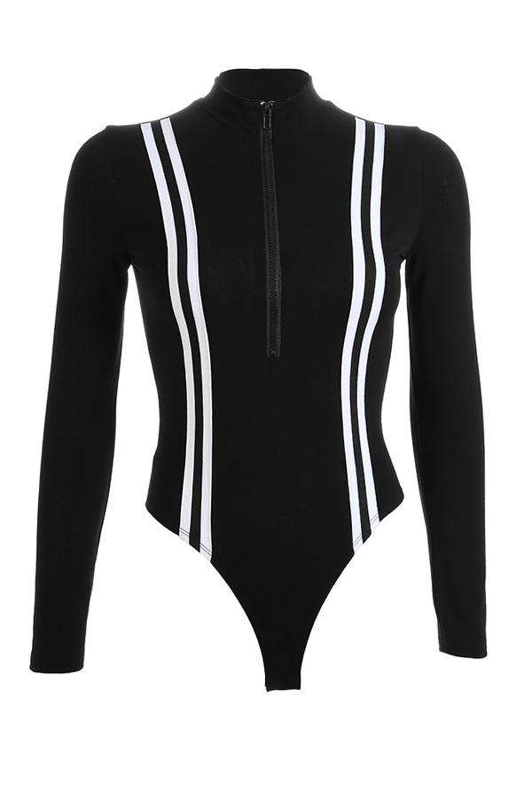 Lovely Casual Striped Black Bodysuit