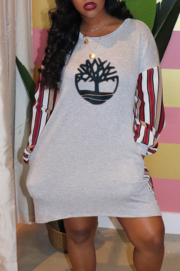 Lovely Casual Printed Grey Mini Dress