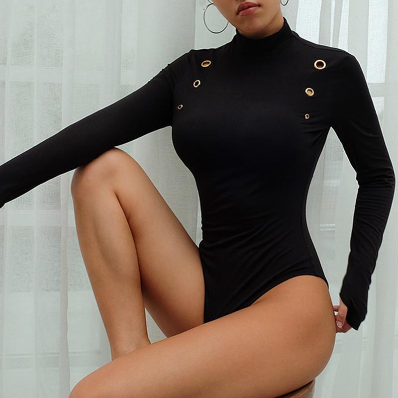 Lovely Casual Skinny Black Bodysuit