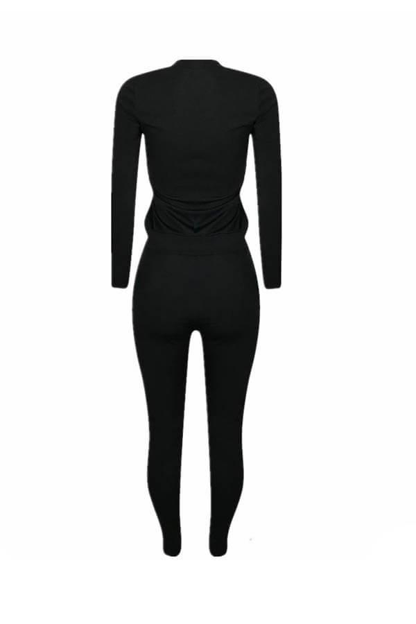 Lovely Trendy Basic Black Two-piece Pants Set