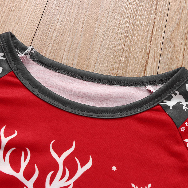 Lovely Family Christmas Deer Red Father Two-piece Pants Set